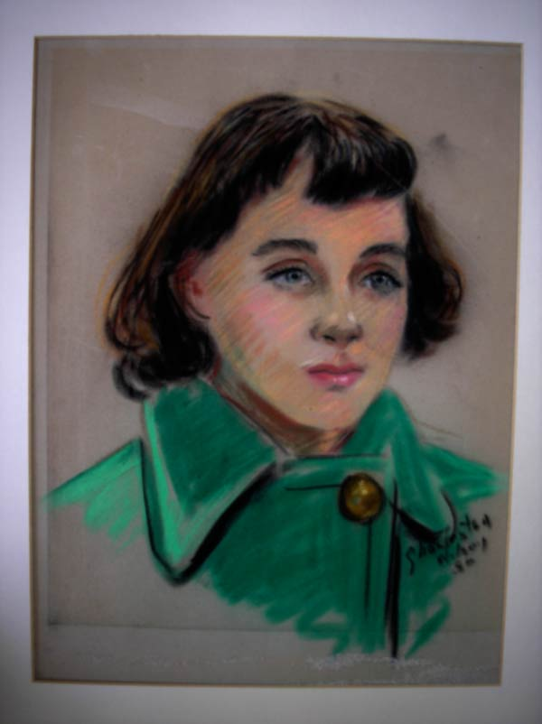 Pastel sketch by street artist of Pamela, early teens